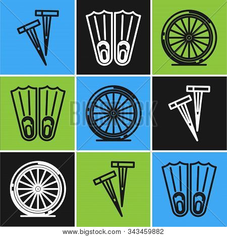 Set Line Pegs For Tents, Bicycle Wheel And Rubber Flippers For Swimming Icon. Vector