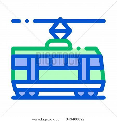 Public Transport Tramway Vector Thin Line Icon. Tramway Tram Street-car, Urban Passenger Transport L