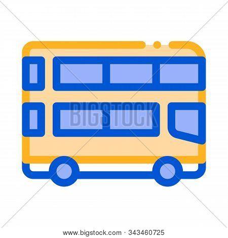 Public Transport Double-decker Bus Vector Icon Sign Thin Line. Double-decker Motor-bus, Urban Passen
