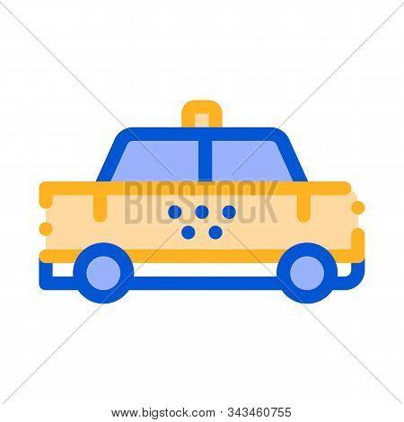 Public Transport Taxi Car Cab Vector Sign Icon Thin Line. Cab Car Automobile, Urban Passenger Transp