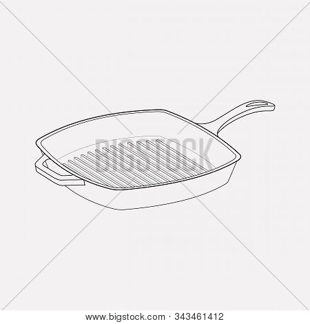 Skillet Icon Line Element. Vector Illustration Of Skillet Icon Line Isolated On Clean Background For