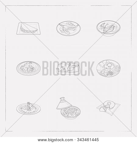 Set Of World Cuisine Icons Line Style Symbols With Indonesian Nasi Goreng, Moroccan Couscous, Dutch