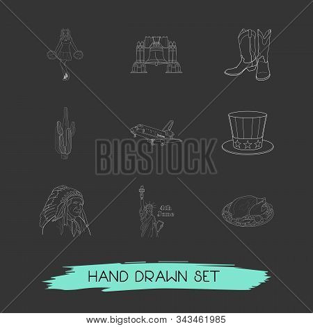 Set Of Usa Icons Line Style Symbols With Uncle Sam Hat, Liberty Bell, Turkey And Other Icons For You