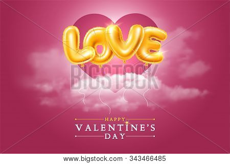 Happy Valentines Day Festive Design For Greeting Card, Banner, Invitation Etc. Golden Foiled Balloon