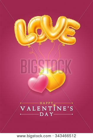 Happy Valentines Day Festive Design For Greeting Card, Sale Banner, Invitation Etc. Soars Golden Foi