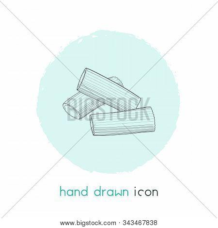 Rigatoni Pasta Shape Icon Line Element. Illustration Of Rigatoni Pasta Shape Icon Line Isolated On C