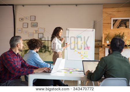 Female Manager Presenting Hierarchy Chart To Group Of Coworkers. Business Colleagues In Casual Worki