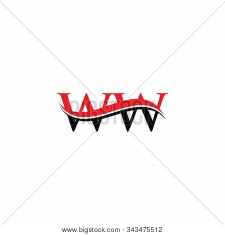 Initial Ww Letter Linked Logo. Creative Letter Ww Logo Vector With Red And Black Colors. Ww Logo Des