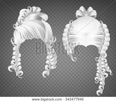 White Curly Girl Wig, Women Rococo Hairstyle. Vector Set Of Realistic Vintage Princess Hairstyle Wit