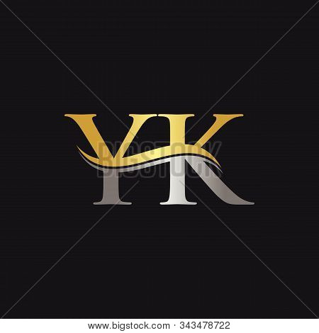 Initial Gold And Silver Yk Letter Linked Logo With Black Background. Creative Letter Yk Logo Design.
