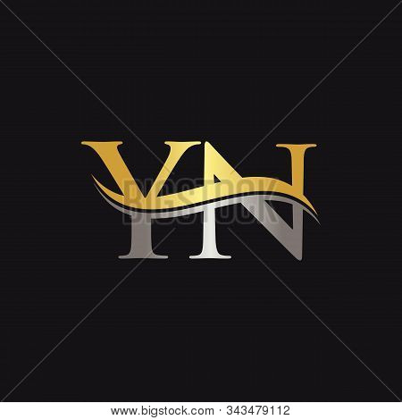 Initial Gold And Silver Yn Letter Linked Logo With Black Background. Creative Letter Yn Logo Design.