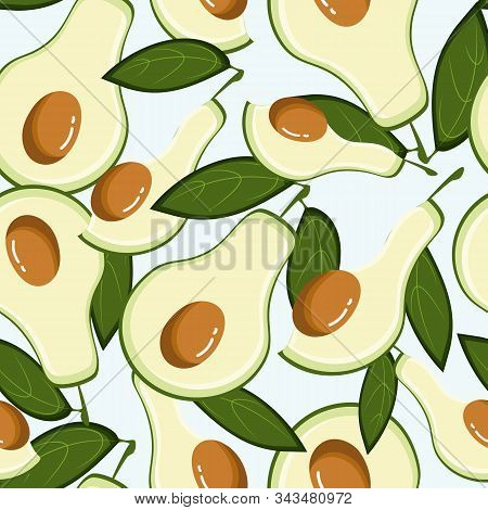 Avocado Seamless Pattern With Leaves, Vector Flat Illustration On Ment Background.