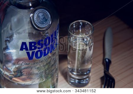Izhevsk, Russia January 6, 2020: Bottle Of Absolut Vodka And  A Glass