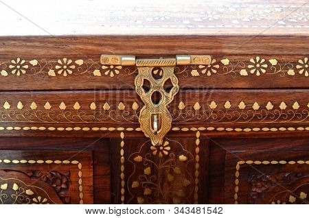 Indian Traditional Craft Wooden Box With Metal Inlay Floral Design And Wood Carving On India Day