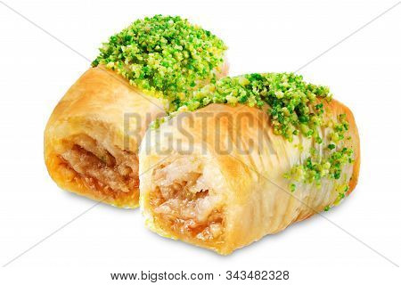 Pistachio Nuts Baklava, Oriental Sweetness On A White Isolated Background
