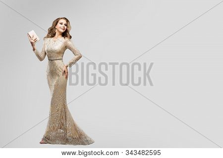 Elegant Woman In Sparkling Evening Dress, Happy Fashion Model In Long Lace Gown, Beauty Studio Portr