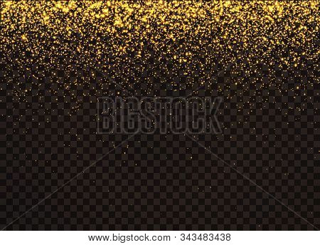 Gold Glittering On Transparent Background. The Dust Sparks Shine With Special Light. Vector Sparkles