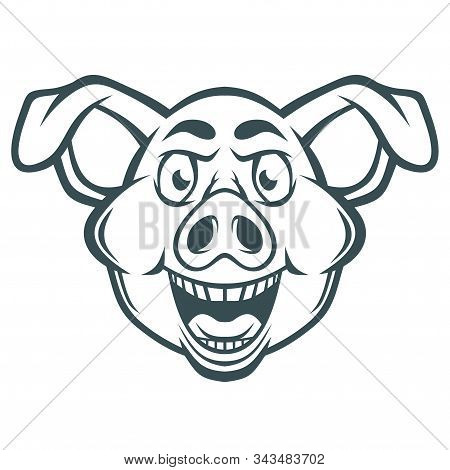 Funny Crazy Pig Face. Vector Illustration For Use As Print, Poster, Sticker, Logo, Tattoo, Emblem An