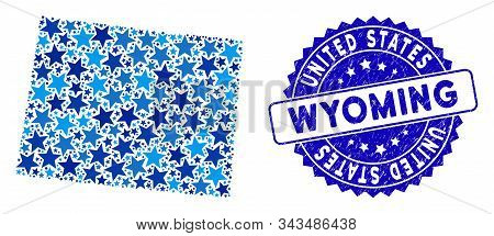 Blue Wyoming State Map Composition Of Stars, And Textured Rounded Stamp. Abstract Geographic Plan In