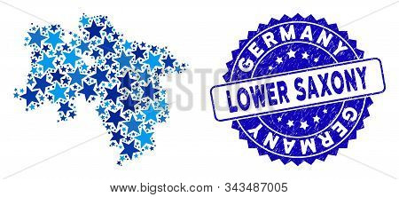 Blue Lower Saxony Land Map Collage Of Stars, And Distress Rounded Stamp Seal. Abstract Territorial P