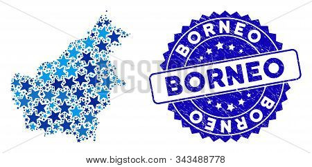 Blue Borneo Island Map Collage Of Stars, And Distress Rounded Stamp Seal. Abstract Geographic Scheme