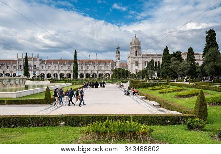 Lisbon, Portugal, October 19 2018: Tourist People Walking Outside The Park Facing The Jeronimos Mona