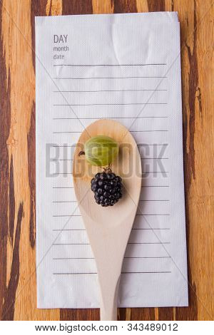 Rustic Spoon With Cherry-plum And Blackberry. Todo-list Note, Free Space For Text.