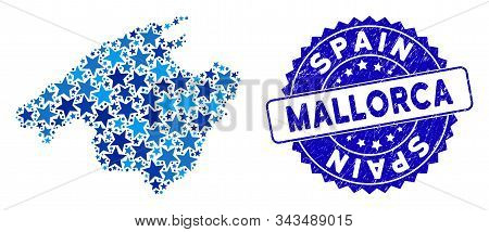 Blue Mallorca Map Mosaic Of Stars, And Scratched Round Stamp Seal. Abstract Territory Scheme In Blue