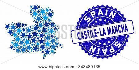 Blue Castile-la Mancha Province Map Composition Of Stars, And Textured Rounded Stamp. Abstract Geogr