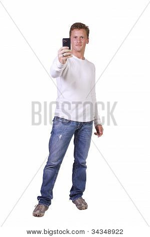 Businessman Taking A Picture With His Phone