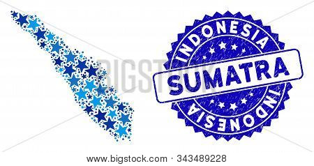 Blue Sumatra Island Map Mosaic Of Stars, And Distress Round Seal. Abstract Geographic Plan In Blue C