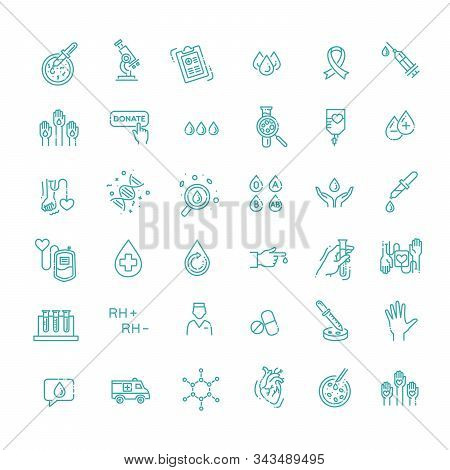 Hematology Vector icon. Outline signs for donor day poster