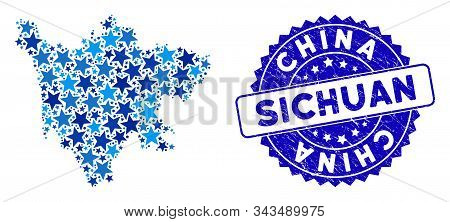 Blue Sichuan Province Map Composition Of Stars, And Grunge Rounded Seal. Abstract Territory Scheme I
