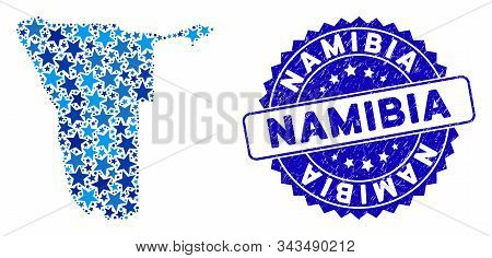 Blue Namibia Map Collage Of Stars, And Textured Rounded Stamp. Abstract Territorial Plan In Blue Col