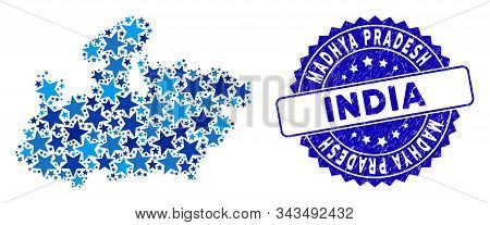 Blue Madhya Pradesh State Map Mosaic Of Stars, And Grunge Round Stamp. Abstract Territorial Plan In