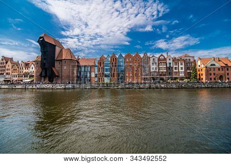 Gdansk, Poland - Juny, 2019. Gdansk The Old Town And Famous Crane, Polish Zuraw. View From Motlawa R