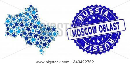 Blue Moscow Oblast Map Composition Of Stars, And Distress Round Seal. Abstract Territorial Scheme In