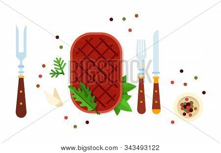Beefsteak With Herbs And Cutlery Vector Flat Isolated