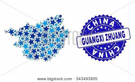 Blue Guangxi Zhuang Region Map Composition Of Stars, And Scratched Round Seal. Abstract Territory Sc
