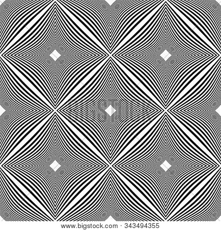 Seamless Op Art Checked Pattern. 3d Illusion. Lines Texture. Vector Art.