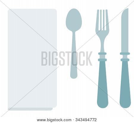 White Dining Napkin With Cutlery Vector Icon Flat Isolated