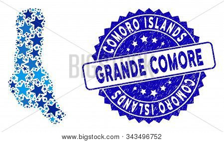 Blue Grande Comore Island Map Mosaic Of Stars, And Grunge Round Seal. Abstract Territorial Plan In B