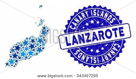 Blue Lanzarote Islands Map Mosaic Of Stars, And Scratched Rounded Stamp Seal. Abstract Territorial P
