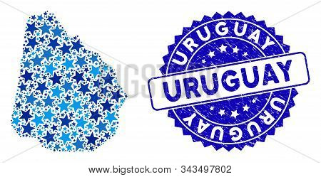 Blue Uruguay Map Mosaic Of Stars, And Distress Rounded Seal. Abstract Territorial Scheme In Blue Col