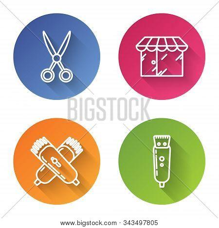 Set Line Scissors Hairdresser, Barbershop Building, Crossed Electrical Hair Clipper Or Shaver And El
