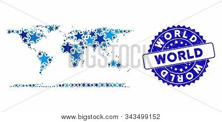 Blue World Continent Map Composition Of Stars, And Textured Rounded Stamp Seal. Abstract Territorial