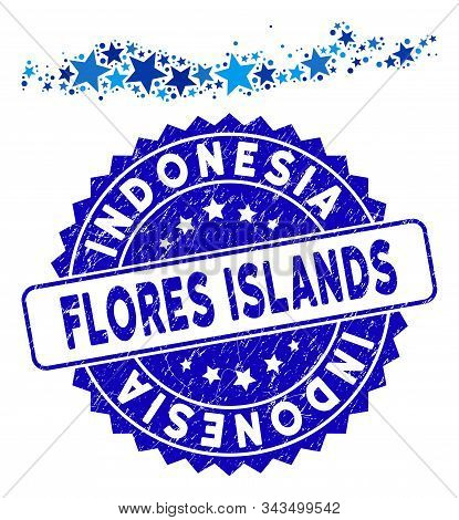 Blue Flores Islands Of Indonesia Map Composition Of Stars, And Distress Round Seal. Abstract Territo
