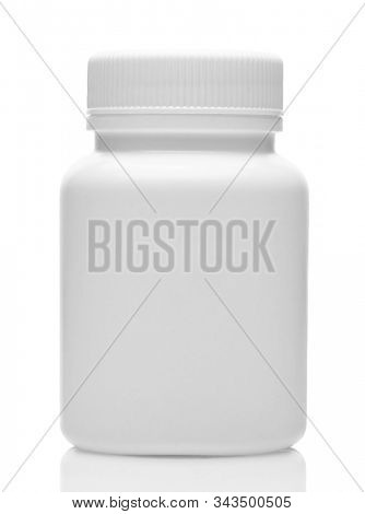 White plastic medical bottle without label, clean and new, container for pills, tablets, vitamins, drugs, capsules, medicament and food supplement for healthcare. Pharmaceutical industry. Pharmacy.