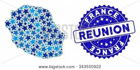 Blue Reunion Island Map Mosaic Of Stars, And Scratched Rounded Seal. Abstract Territorial Plan In Bl