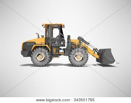 Orange Road Car Wheel Bulldozer 3d Rendering On Gray Background With Shadow